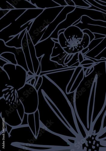 Abstract illustration of decorative purple floral design against black background