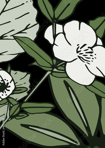 Abstract illustration of decorative white and green floral design against black background