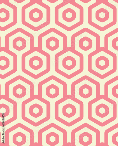Abstract illustration of pink geometrical hexagonal shapes in seamless pattern against yellow backgr