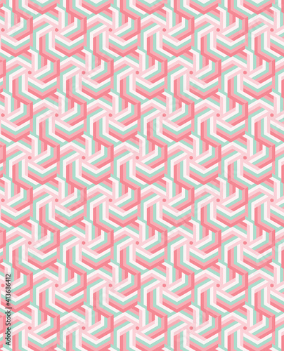 Abstract illustration of orange and pink abstract geometrical shapes in seamless pattern against whi