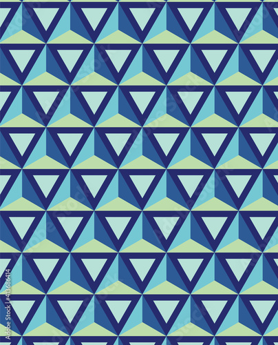 Abstract illustration of blue geometrical triangular shapes in seamless pattern against green backgr