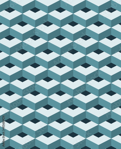 Abstract illustration of green 3d abstract geometrical shapes in seamless pattern against black back