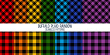 Rainbow Colored Buffalo Plaid Vector Seamless Pattern Set