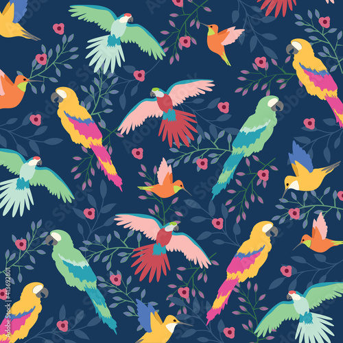 Naklejka premium Digitally generated illustration of beautiful tropical exotic parrot birds and floral leaves against