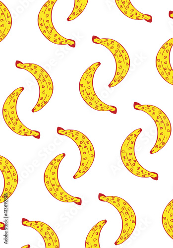 Abstract illustration of tiny heart shapes on multiple bananas in seamless pattern against white bac