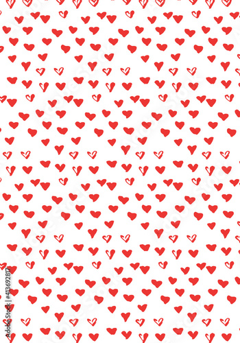 Abstract illustration of multiple tiny red hearts in seamless pattern against white background