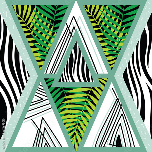 Geometric green, white and black leaf and zebra patterns
