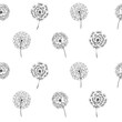 Multiple black outlined dandelions in rows on white background