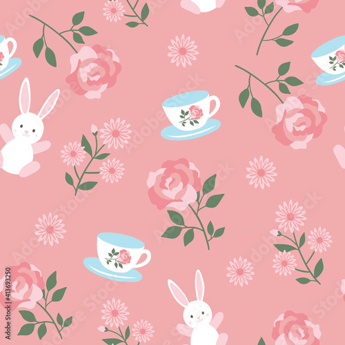 Fototapeta premium White bunny, tea cup and flowers on pale pink background