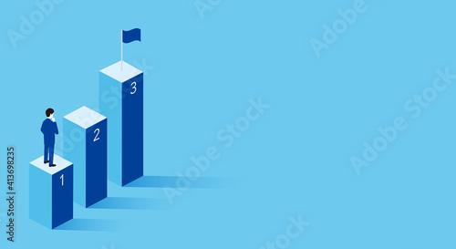 Fotografia 3ステップのビジネスイメージ、三つのステップとビジネスパーソン、3Dイラスト、コピースペース