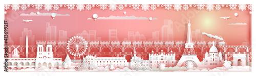 Fotografie, Obraz Travel landmarks popular France by train with city background.