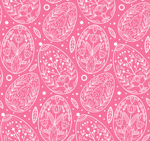 Seamless Pattern With Contour Easter Eggs. Holiday Wallpaper With White Outline Of Holiday Treats On Pink Background. Delicate Fabric With Folk Pattern. Vector Festive Texture