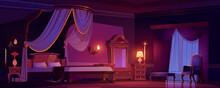 Victorian Bedroom, Royal Interior At Morning.