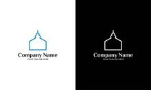 Modern Simplistic Mosque Illustration Logo Design Vector Graphic