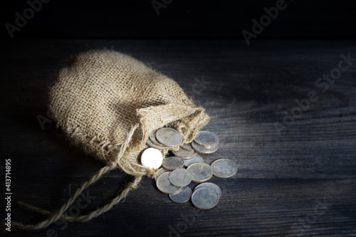 Obraz na plátně sack with the thirty silver coins biblical symbol of the betrayal of judas