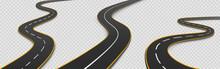 Road, Winding Highway Isolated Two Lane Pathway