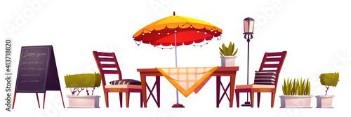 Fotografía Summer terrace, outdoor city cafe, coffeehouse