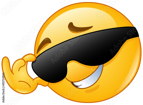 Happy emoji emoticon touching or fixing his sunglasses #413724806