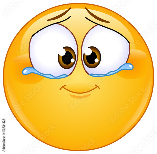 Cute emotional emoji emoticon with tears of joy #413724829