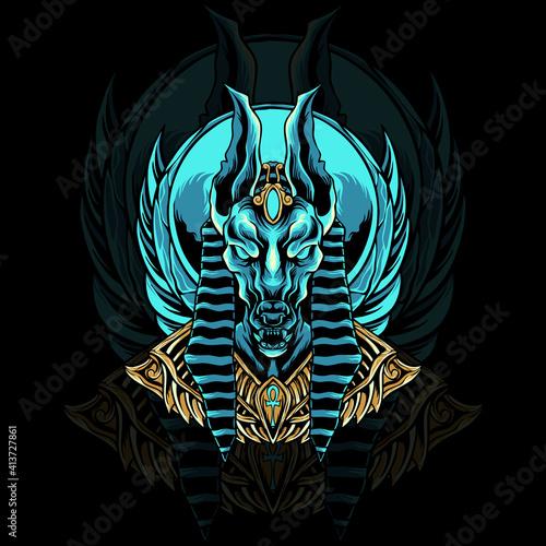 Obraz na plátně Anubios egypt head illustration