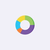 colored flat chart icon. infographic modern vector illustration. Pixel Perfect