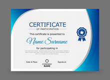 Certificate Of Participation Design Template In Blue And Grey Colour With Badge.