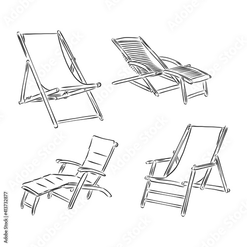 Hand Drawn chaise-longue Sketch Symbol isolated on white background Poster Mural XXL