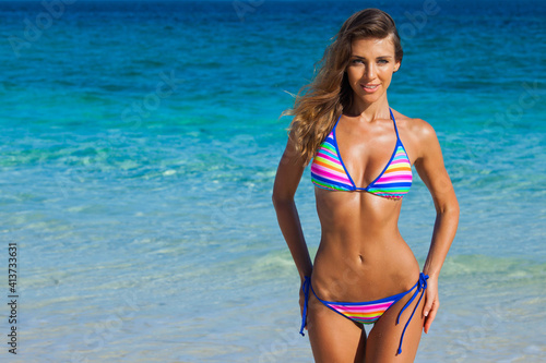 Fototapeta Happy woman on beach obraz