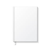 Blank White Book Or Notebook With White Ribbon Bookmark Top View Mockup Template.