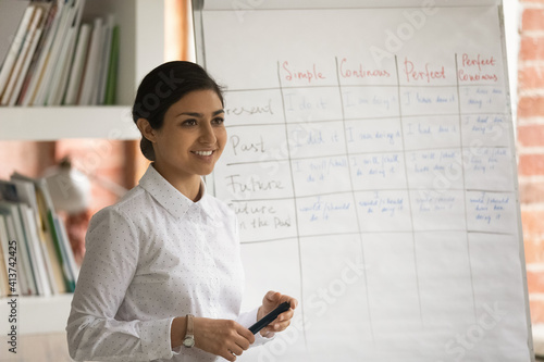 Fototapeta Happy millennial Indian female English teacher have webcam virtual lesson present topic on flip chart