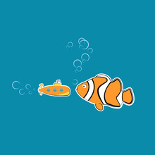 Nature Against Technologies. Funny Art With Sea Fish-clown Looking At Orange Submarine Questioningly. Vector Illustration In Marine Theme  In Childish Style. Print For Poster, Textile, Cards, Ads.