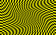 Black And Yellow Distorted Checkered Pattern Background. Vector Illustration Of Black And Yellow Squares. Torsion, Twist, Rotary Deform, Gyration, Revolve Checkerboard Graphic. Wasp, Bee Concept.