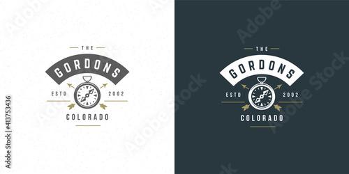 Slika na platnu Compass logo emblem vector illustration outdoor expedition adventure for shirt o