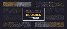 Halftone Grain Pattern Brushes. Grunge Noise Texture Set. Vector Illustration Eps10. Creative Artistic Brush Collection. Basic Kit. Ink Paint Strokes.
