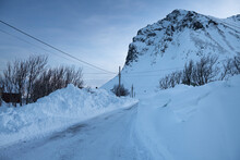 Pathway Dug Through Deep Snow After Winter Storm Brought Nearly 2 Meters Of Snow To West Lofoten, Myrland, Lofoten Islands, Norway
