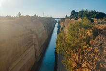 View Of The Corinth Canal In  Greece With A Bridge