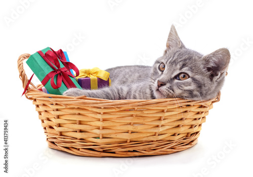 Cat lying in basket with gifts. © voren1