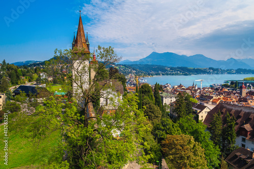 Fotografie, Obraz Fantastic Lucerne cityscape view from the bastion tower, Switzerland