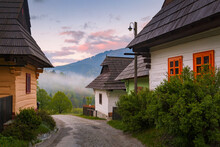 Traditional Wooden Architecture In Vlkolinec Village In Slovakia.