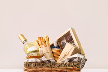 Gift Basket With Products On Light Background