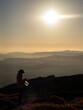秋の九重連山夕焼けに染まる稜線の上で