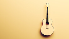 Classical Acoustic Guitar On Yellow Background.