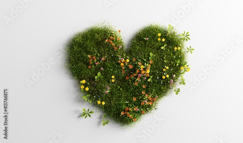 Obraz na plátně Green grass with spring summer flowers in heart shape