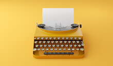 Retro Vintage Typewriter In Single Color Style
