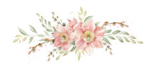 Spring Floral Arrangement With Primrose Flowers And Pussy Willow Branches, Delicate Background For Invitations And Cards.