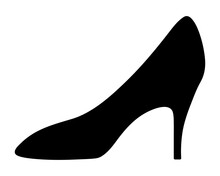 Shoe. Silhouette. Womens Shoes With Heels. Vector Illustration. Outline On An Isolated Background. Valentines Day, Wedding. Ladies Accessory. Lost Shoe. Idea For Web Design, Invitations, Postcards.
