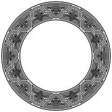 Meander Pattern On Circle Frame. Geometric Round Ornament. Meandros Decorative Disconnected Border From Lines, Shaped Into Repeated Motif. Greek Fret Or Key Isolated On White