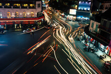 High Angle View Of Light Trails On City Street