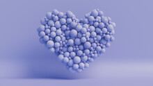 Balloon Love Heart. Blue Balloons Arranged In A Heart Shape. 3D Render