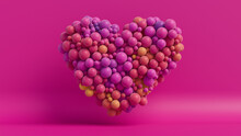 Multicolored Balloon Love Heart. Purple, Pink And Orange Balloons Arranged In A Heart Shape. 3D Render